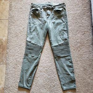 Pistola moto skinny jeans in army green